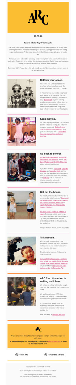 ARC Club Newsletter How to Work at Home With Kids