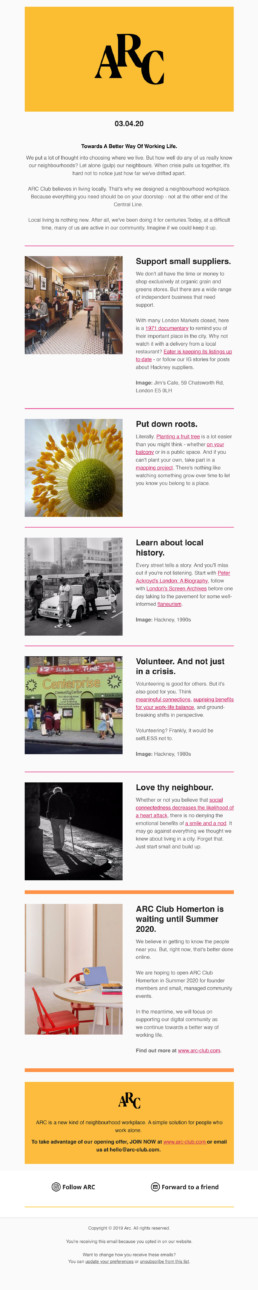 ARC Club Newsletter How To Live Locally